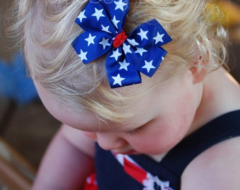 4th of July Memorial Day 3 inch Blue with Stars Pinwheel Bow with Red Center Knot - Etsykids Team