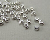 4mm Silver Crimp Bead Covers, silver plated brass knot covers, multiple packet sizes available  (419FD)