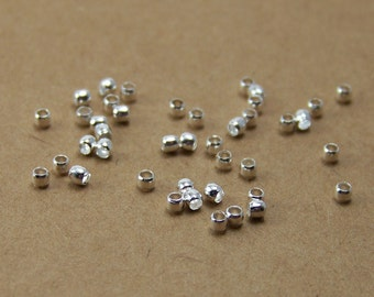 Silver Crimp Bead, 2mm with 1.5mm inside diameter, plated metal, 100 beads  (328FD)