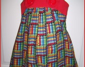 Perfect for Back to School.    Custom Girls Jumper Dress in Crayons with red trim .... SewCute by Marie