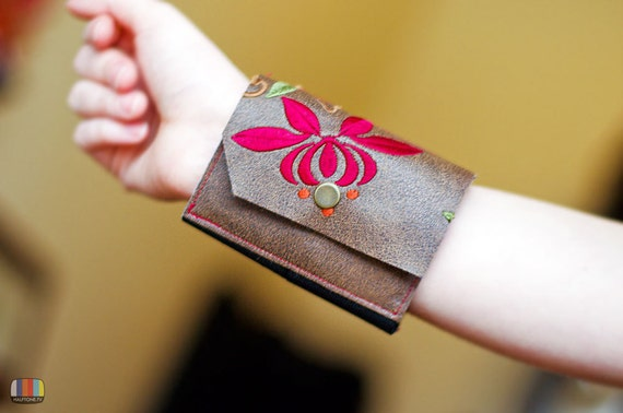 Embroidered Wrist Wallet Flowers Vegan Friendly Leather-like Bracelet Cuff
