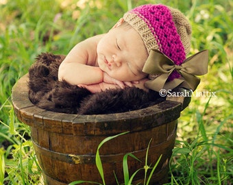 Newborn Knit Hat, Baby Girl Hats, Baby Beret, Newborn Baby Hat, Knit Newborn Hat, Baby Bow Hat, Newborn Photography Prop
