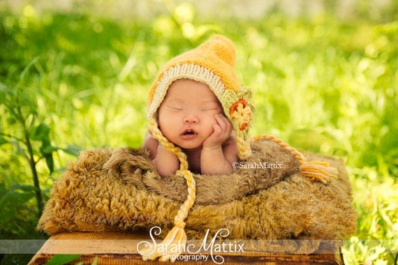 Knit Pixie Hood Baby Hat, Newborn Hats and Photography Props, Summer and Autumn Inspired Baby Hats