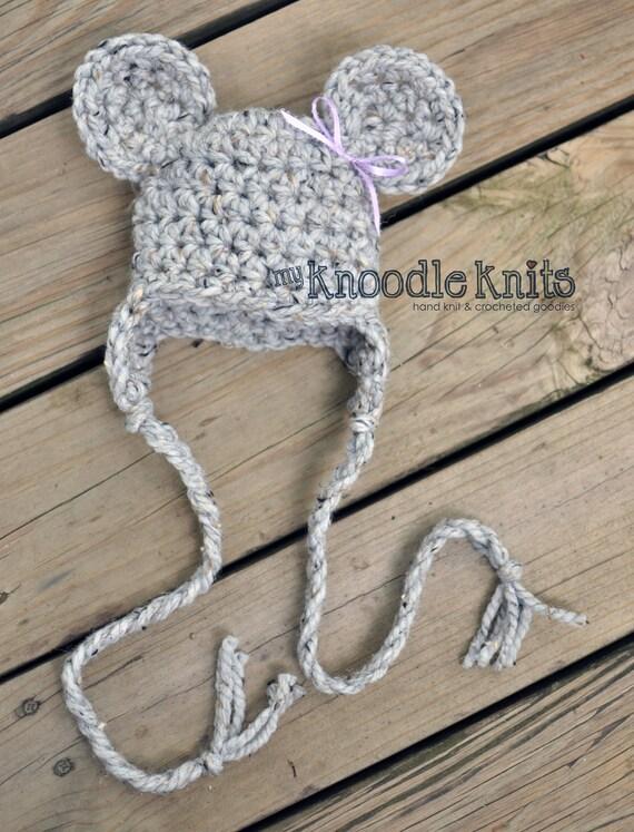 Baby Mouse Hats, Newborn Crocheted Animal Hats,Baby Boy Crochet Hats, Newborn Hat, Crocheted Hat, Mouse Hat, Newborn Photography Prop