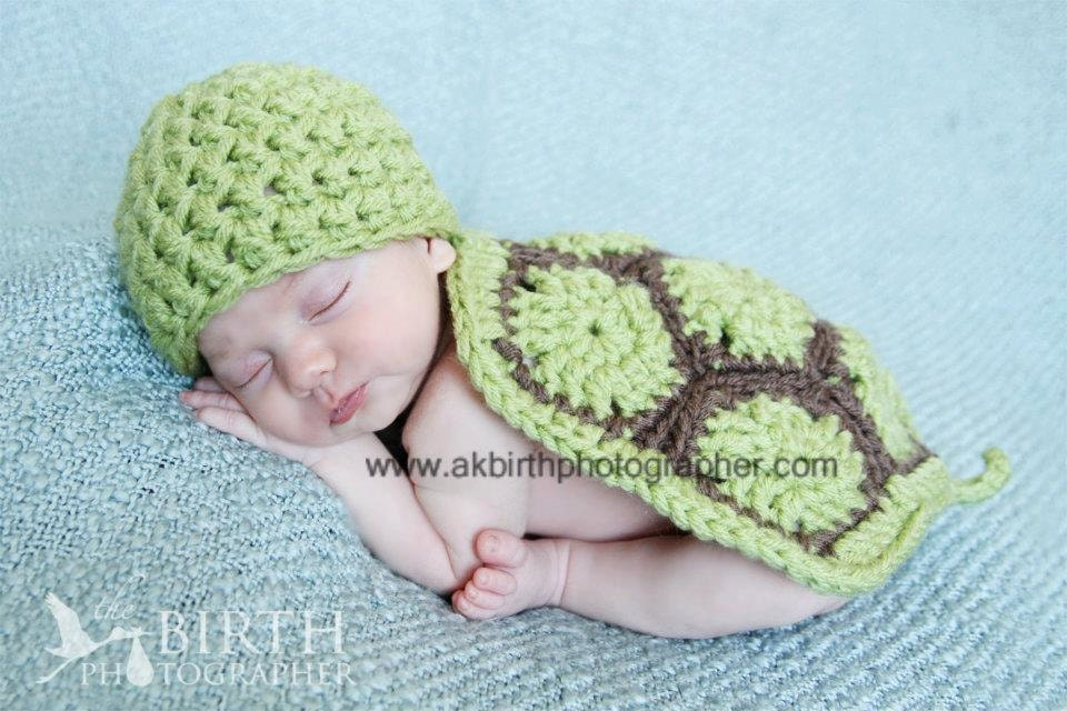 Crochet Newborn Hats : Newborn Turtle Photography Prop Set Newborn by knoodleknits