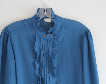 Turquoise Ruffle high collar sheer blouse