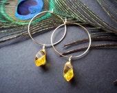 Hoop Earrings. Gold Earrings Simple Skinny Hoops. Yellow Crystal Drop. Wire Wrapped Jewelry. Gold Dangle Swarovski Crystal