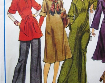 70s Vogue 1255 Vogue Basic Design Loose Fitting Flared Dress and Top, Wide  Pants - Size 12 Bust 34