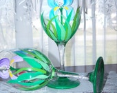Iris Wine Glasses Hand  Painted Set of Two