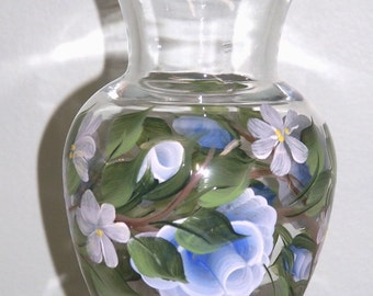 Hand Painted Vase with Blue Roses