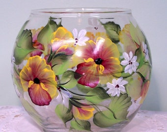 Glass vase Ivy bowl with hand painted Pansies