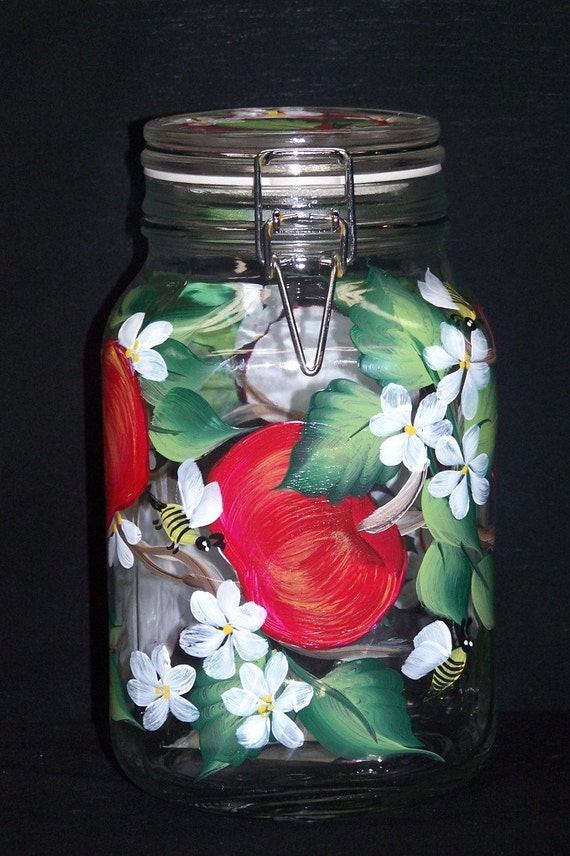 Cookie,Canister, Mason Jar with  Hand Painted Apples