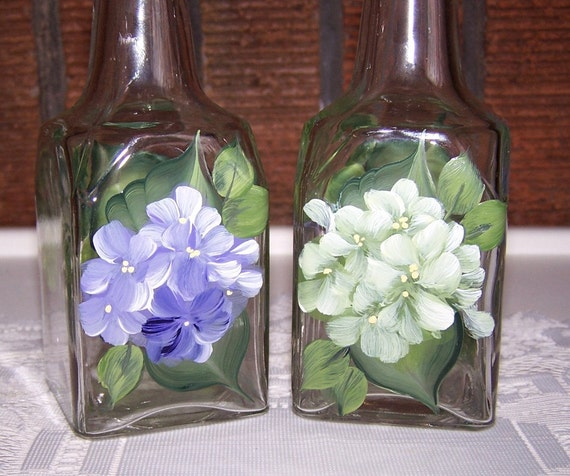 Oil and Vinegar Set with Hand Painted Hygrangea