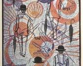 linocut, Mid Day Sun,English, bowler hats, dogs, sun, orange, lavender, black, printmaking, home interior, humor, quote, umbrella, modern