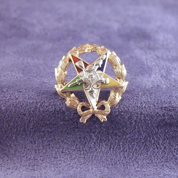 Vintage Masonic Eastern Star Oes Lapel Pin Brooch 14k Gold