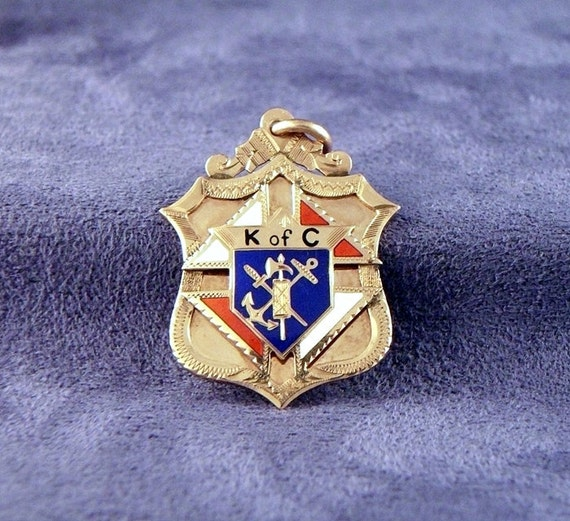 Antique 10k Knights Of Columbus Pendant Charm Fob
