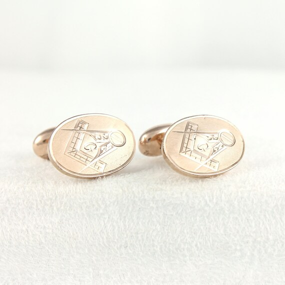 Vintage Masonic Cufflinks - Gold