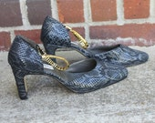 "vtg CORSINA genuine leather gray snakeskin heels, charcoal grey pumps, shoes, sandals U.S. size 9 in silver gray grey reptile print 3"" heel"