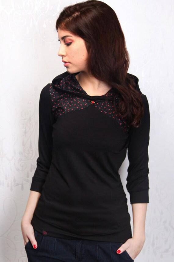 black hoodie - sweater - rose