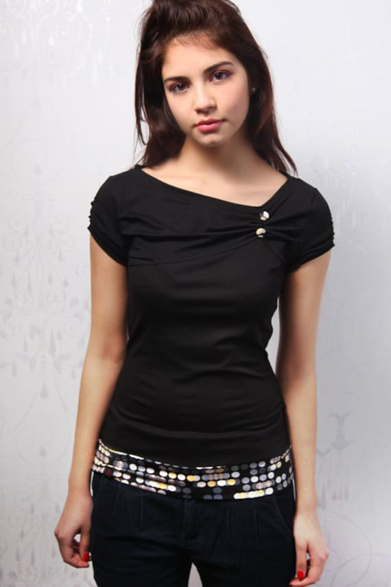 black jersey top - retro dots - buttons