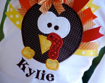 Turkey Ribbon Thanksgiving shirt girls sizes up to 8 years