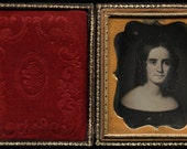 Rare 1850s Daguerreotype of a Folk Art Painting / Pretty Woman with Bottle Curls