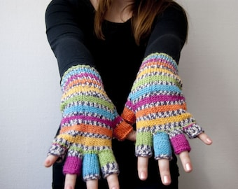 Hand knit fingerless gloves - parrot. Rainbow stripes in pink, turquoise, green, yellow and orange.