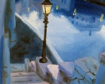 Gift for Men - City Art - Urban Art - Fine Art Print - Blue Cityscape - Urban Painting - London Art - London Painting - Urban Decor