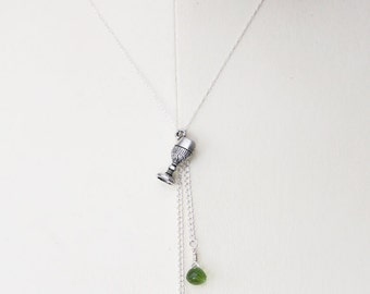 S A L E // Absinthe Necklace // faceted lime green quartz and a silver goblet
