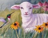 Lamb Hummingbird Print 8x10 Watercolor Giclee Fine Art by Janet Zeh