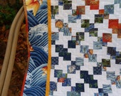 Sale Quilt - Wallhanging or Lap Quilt Blue, White, Yellow, Orange