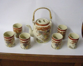 Vintage Oriental Tea Set Orange copper and gold accents and scenery