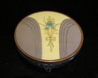 Vintage Powder Jar 1940's Powder Jar Celluloid & Glass Powder Jar Art Deco Powder Jar Vintage Powder Box Excellent Condition