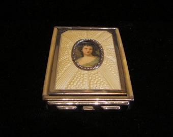 1930's Portrait Compact Vintage Girey Powder Rouge Mirror Portrait Cameo Compact EXCELLENT CONDITION