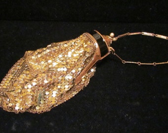 Vintage Whiting And Davis Gold Mesh Enamel Purse 1920s Evening Bag Art Deco Purse EXTREMELY RARE