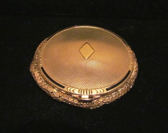 1930's Art Deco Evans Gold Compact Mesh Powder Compact Vintage