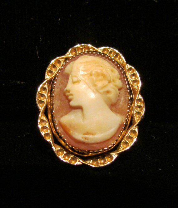 Vintage Cameo Brooch 12kt GF Pin Carved Cameo Pin 1940s Pin Profile Cameo Shell Cameo Carved Cameo Brooch