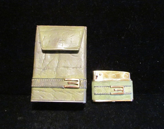 1960's Cigarette Case Vintage Cigarette Case Vintage Lighter Calf Skin Leather Lighter Amity WORKING LIGHTER