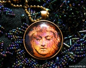 Temperance. Rustic tarot card necklace, victorian gothic jewelry, tribal steampunk gypsy, copper orange rust, graveyard angel