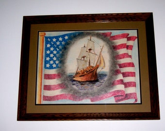 American Discovery framed art with ship, red white blue stars stripes USA flag, freedom, patriotic office home decor, original illustration