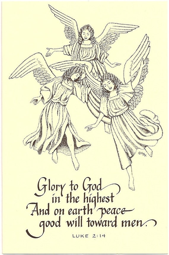 Items similar to 20 Christian postcards, angels & Bible verse Glory to God, peace on earth, good ...