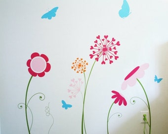 FLOWER GARDEN Wall Decal / flower wall decals, butterfly wall decal, dandelion wall decal, floral wall decal, children wall mural,baby decal