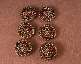 0050  Set of 6 Goldtone Button Covers
