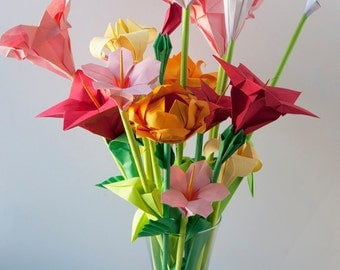 Pink Red Yellow Assorted Origami Flowers, Mother's day floral bouquet , Easter flowers, Spring paper flower bouquet