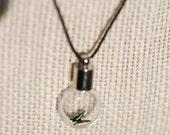 Green Tiny Butterfly in Glass Bulb on Black Cord Necklace