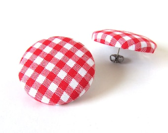 Large red gingham stud earrings - big fabric button earrings - white plaid tartan check