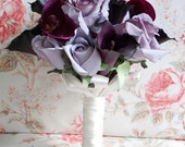 Wedding Bouquet Lavender Rose Eggplant Calla Lily and Fuchsia Orchid Wedding Bouquet