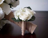 Wedding Boutonniere Rustic Rose Hydrangea Wedding Boutonniere