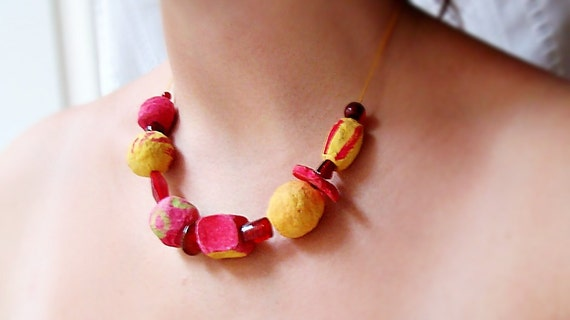 Red-Yellow Pulp Necklace- Ready to ship
