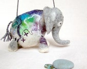 Anthonio - Felt Elephant. Handmade Puppet, Art Marionette, Felted Animal, Stuffed Toy. grey blue purple green spring fresh. MADE TO ORDER